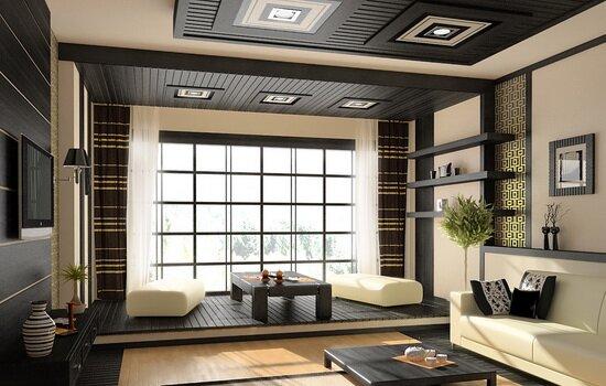 Дизайн потолка для зала. Обзор нескольких вариантов